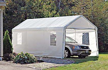 ShelterLogic Portable Garage Canopy Carport, 10' x 20', White