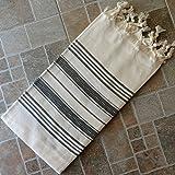 Natural & Black Turkish Towel Peshtemal - 100% Natural Dyed Cotton - for Beach Spa Bath Swimming Pool Hammam Sauna Yoga Pilates Fitness Gym Picnic Blanket (Dandelion Textile)