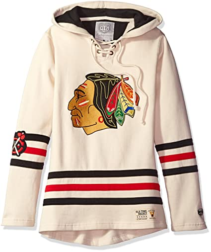 1b8259e8 Old Time Hockey NHL Chicago Blackhawks Women's Vintage Lacer Heavyweight  Hoodie, Small, Stone