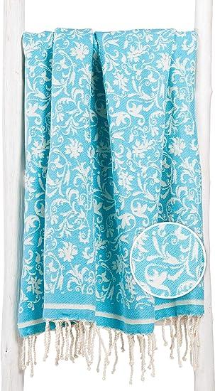 Fouta Toalla Turca XXL con Flores Elegantes 100x200 100% Algodón - Teli Mare Hammam Diseño Exclusivo (Turquesa): Amazon.es: Hogar