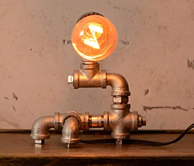 Loft Living Designer Steampunk Water Piping Desk Top Table Lamp Modern Antique Rustic Decor Steam Punk