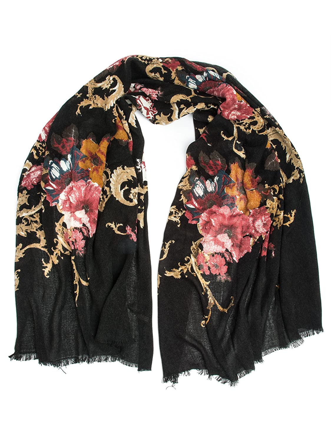 1920s Accessories Guide Eleanor blanket scarf oversized winter scarf floral scarf $26.95 AT vintagedancer.com