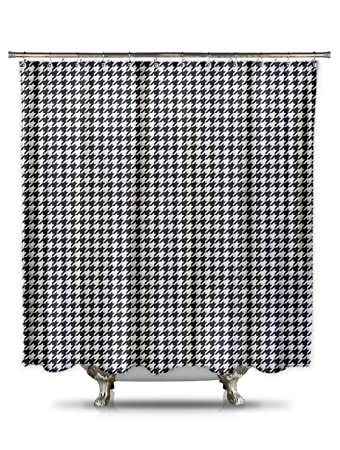 Shower Curtain HQ Black And White Houndstooth Polyester