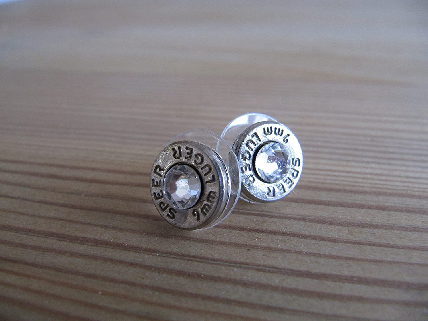 9mm Earrings with Swarovski Crystal Accents - Bullet Jewelry- Small Bullet Earring - Crystal Bullet Earrings