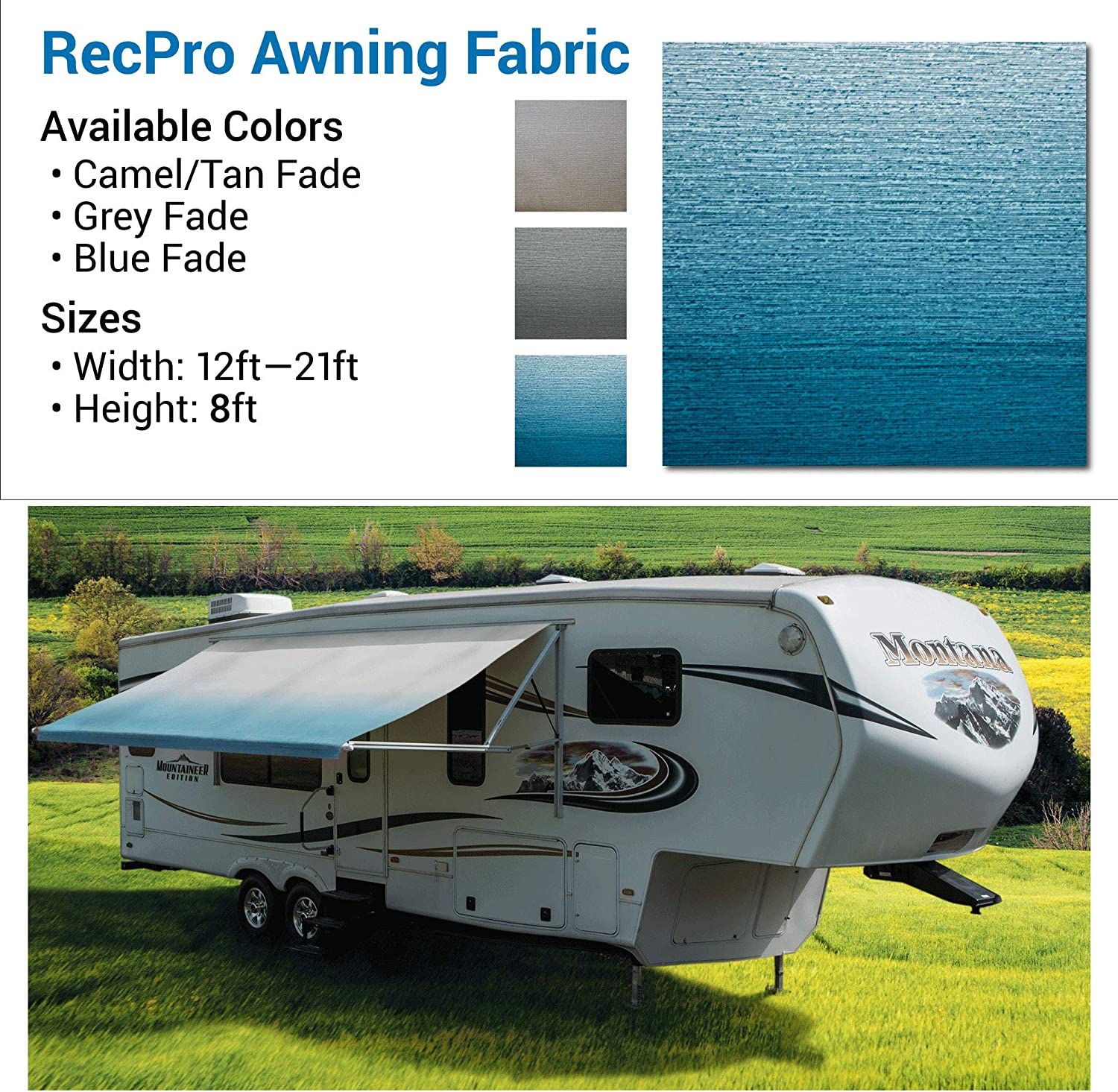 13 Foot Camper Awning 13 Feet, Tan Fade Tan Color RecPro RV Awning Fabric 96 Length RV Awning Replacement 8 Premium Vinyl