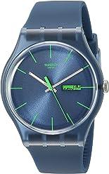 Swatch Mens SUON700 Quartz Navy Blue Dial Plastic Date Luminous Watch