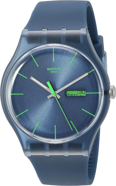 Swatch Blue Rebel SUON700 - Reloj de Mujer de Cuarzo, Correa de Caucho Color Azul Claro