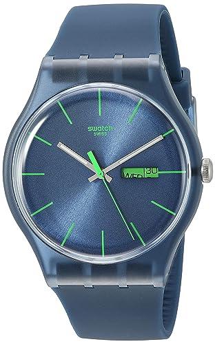 Swatch para hombre SUON700 cuarzo esfera azul marino plástico FECHA reloj luminoso