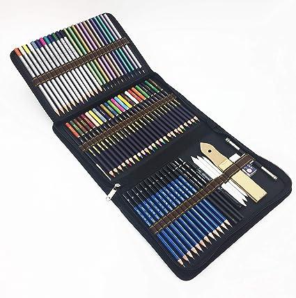 72 Piezas Set Lápices de colores profesional Con Lapices De Dibujo,Lapices Acuarelables,colores lapices acuarelables,carbón,Lápices Pastel,Herramientas de dibujo y Caja de lápiz: Amazon.es: Oficina y papelería