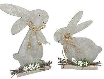 Khevga Deko Ostern Osterhase Holz Grau Blumen 2er Set Amazon De
