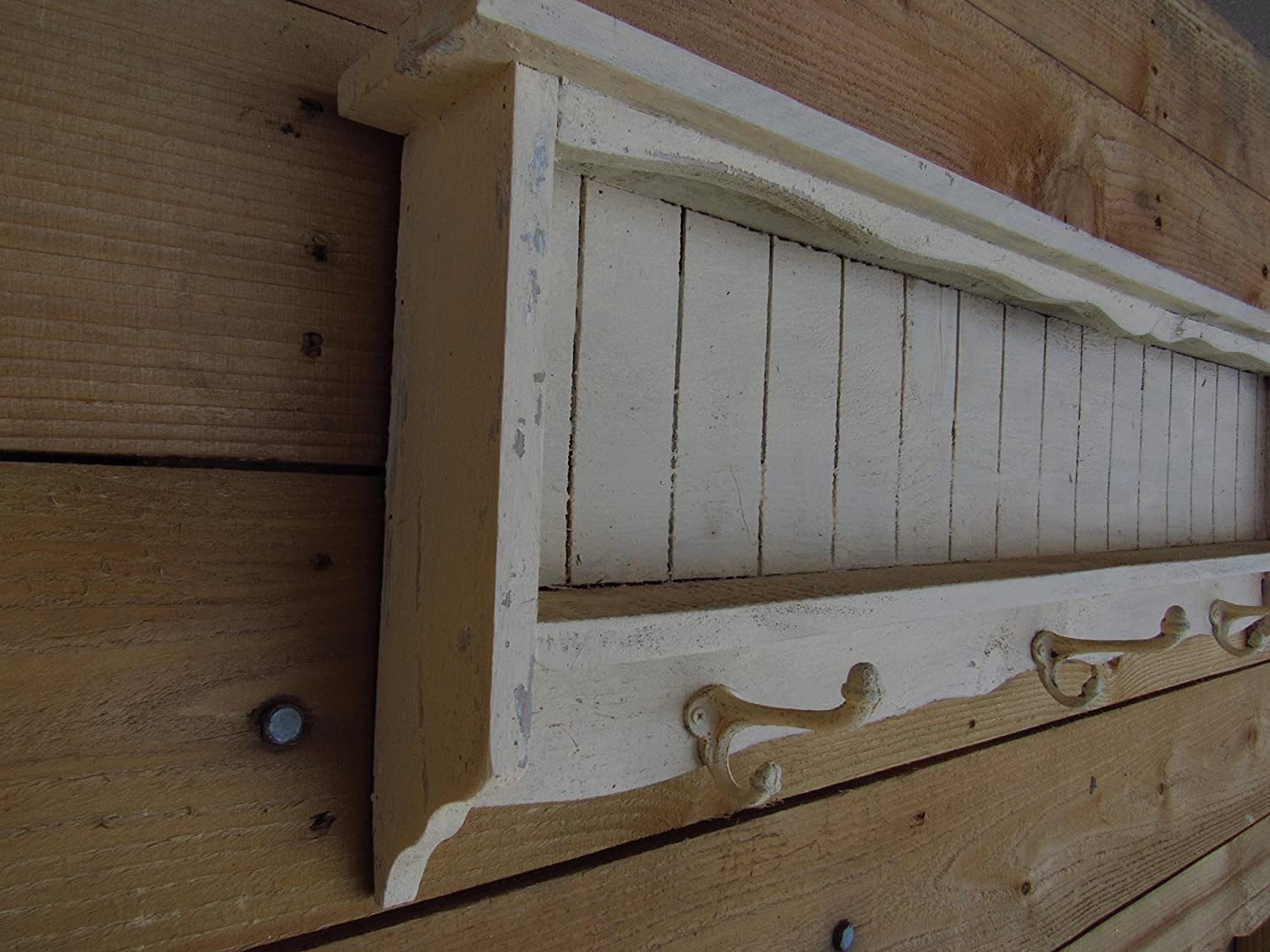 36 or 60 long Distressed white shelf with iron hooks Vintage Farmhouse look reclaimed wood