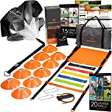 Athletivi Agility Ladder Speed Training Equipment - Ladder Kit with Fixed-Rungs, Cones, and Resistance Parachute…
