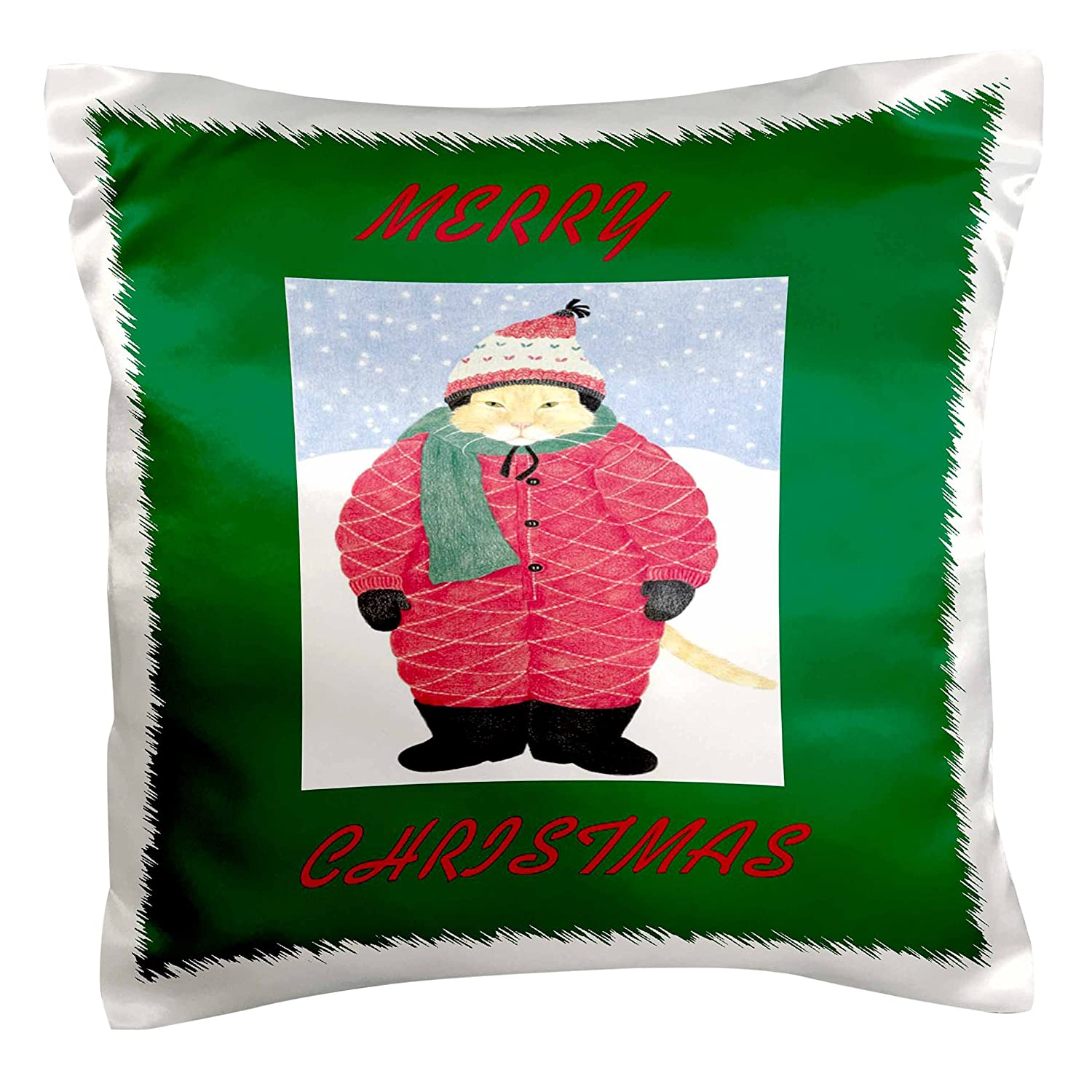 3dRose pc/_34746/_1 Xmas Cat-Pillow Case 16 by 16
