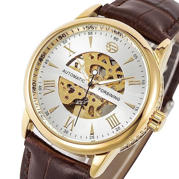 SOAO Forsining reloj para hombre de lujo de la marca reloj mecánico automático reloj de pulsera de cuero esqueleto de plata para reloj de pulsera de cuero: ...