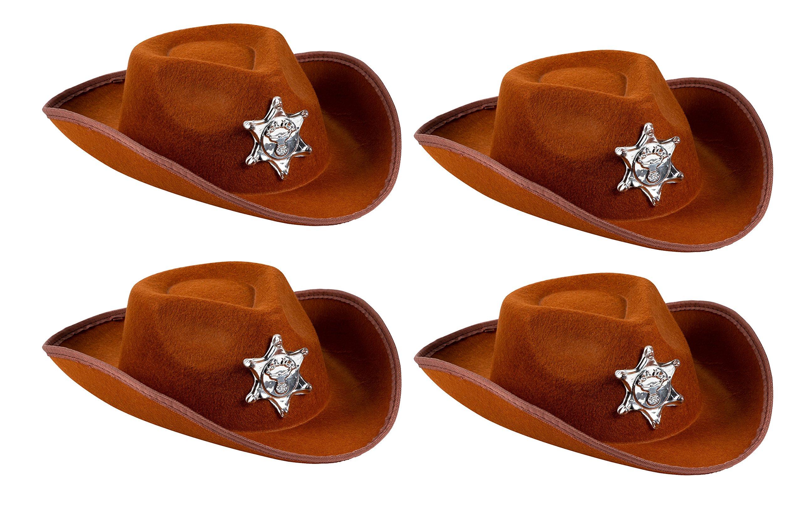 Cowboy Sheriff's Hat Kids - 4-Pack Novelty Children Cowboy Western Hats Badge Birthdays, Party Favors, Brown