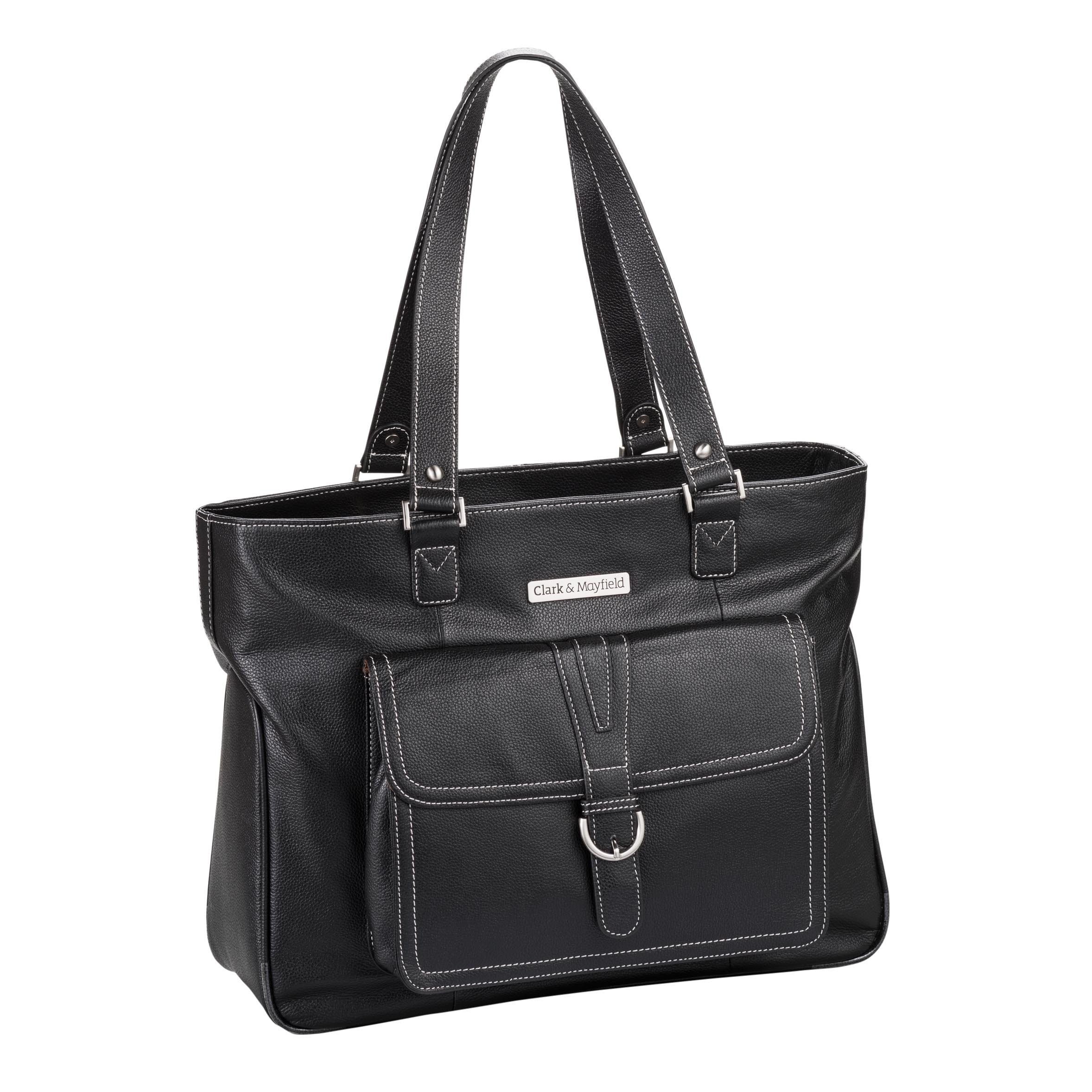 Clark & Mayfield Stafford Pro Leather Laptop Tote 17.3'' (Black)