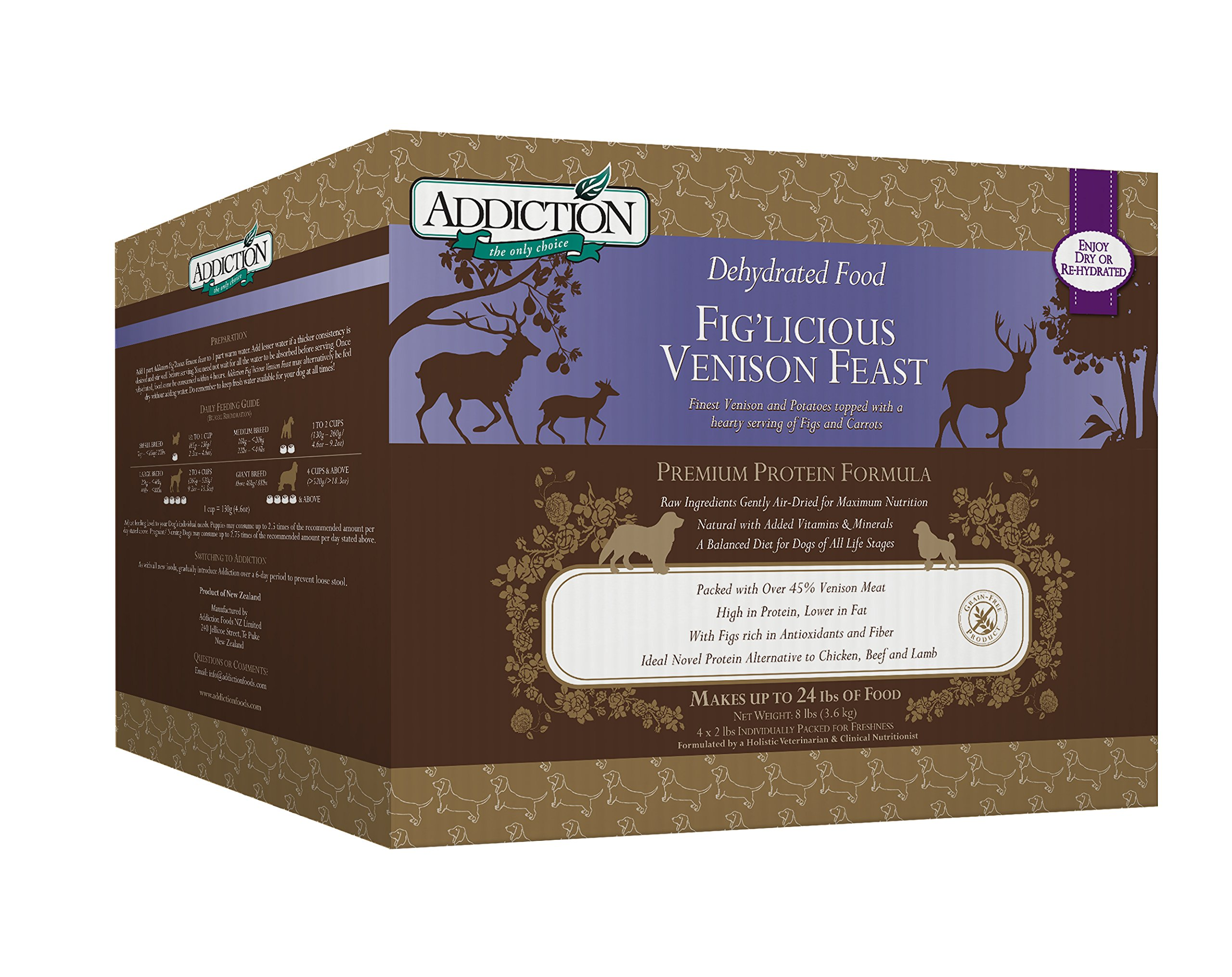 Addiction Fig'Licious Venison Feast Grain Free Dehydrated Dog Food, 8 Lb. by Addiction Pet Foods