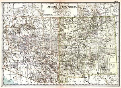 Amazon.com: Historic Map | 1902 Arizona and New Mexico | The Century ...