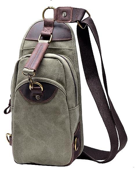 b5b2c1baa1e Gootium Canvas Sling Bag Chest Pack Unbalance Shoulder Backpack Army Green