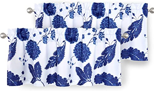 DriftAway Gianna Floral Leaf Botanical Lined Thermal Insulated Energy Saving Window Curtain Valance for Living Room Bedroom Kitchen Rod Pocket 2 Pack 52 Inch by 18 Inch Plus 2 Inch Header Navy