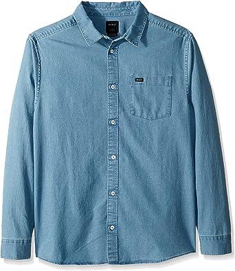 RVCA Hombre M557TRND Manga Larga Camisa de Botones - Azul - Small: Amazon.es: Ropa y accesorios