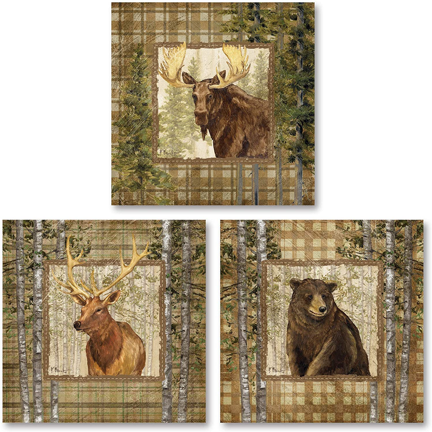 Rustic Cabin Moose Bear and Buck; Lodge Decor; Three 12x12in Poster Print
