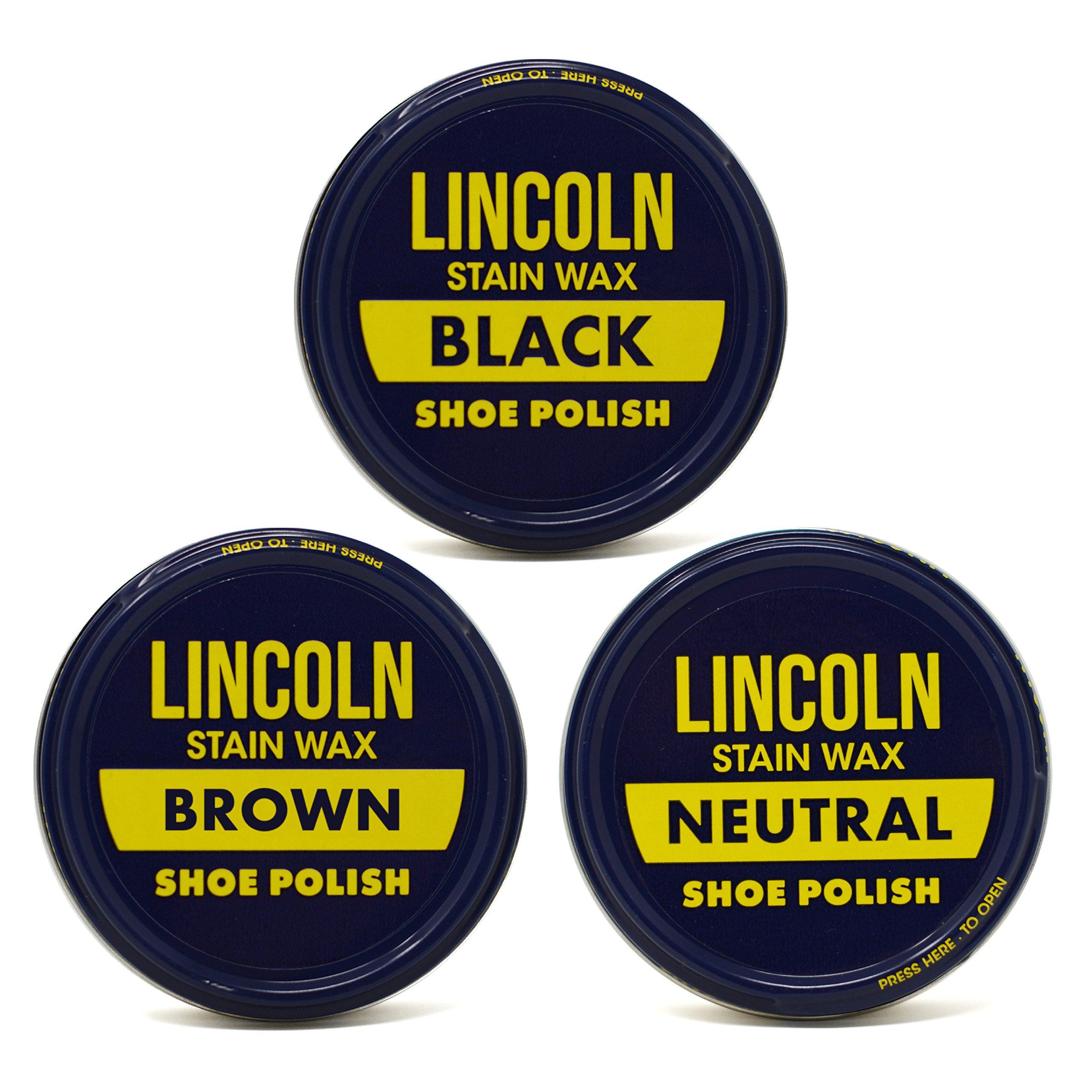 Lincoln Stain Wax Shoe Polish Black, Brown, Neutral Variety 3 fl oz, 3 Pack