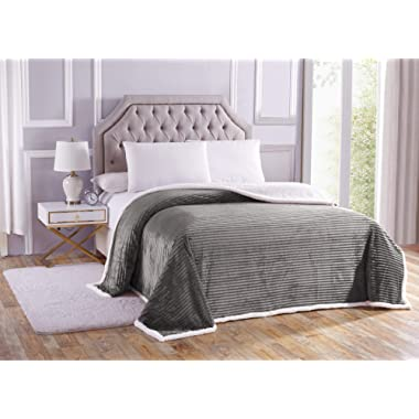 Noble House Soft Plush Reversible Corduroy/Sherpa Lined Oversized Bed Blanket for Bedroom or Lounging on Couch, King, Grey