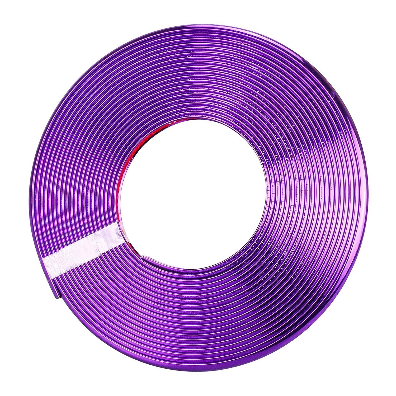 Protecteur de bord de jante de moyeu de roue de voiture, protection durable d'é lectrodé position de bord de bord de voiture de 8M Autocollant de garde de pneu puissant Autocollant pratique de bande de caoutchouc pour toute la voiture (Purple