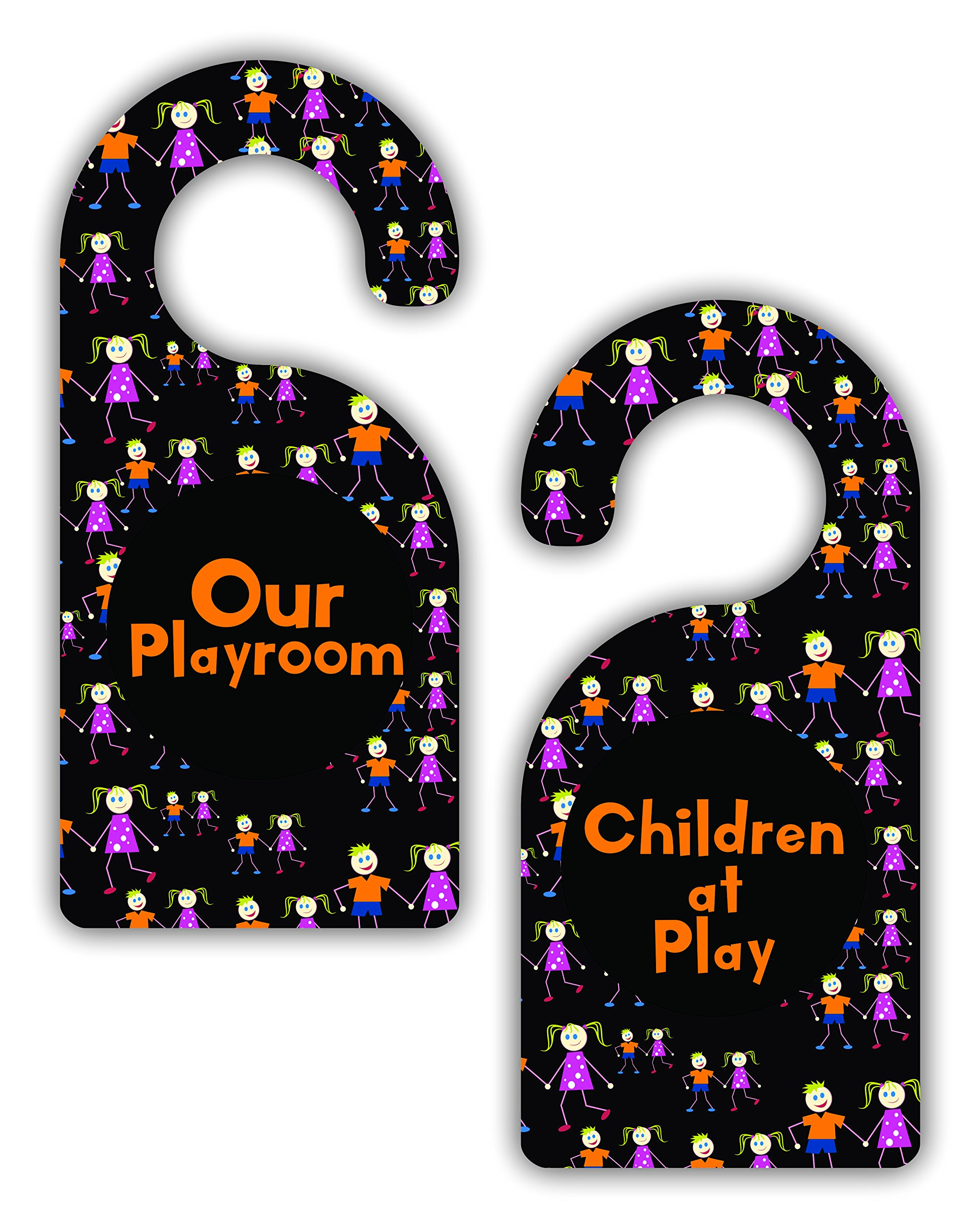 Our Playroom/Children at Play - Double-Sided Hard Plastic Glossy Door Hanger