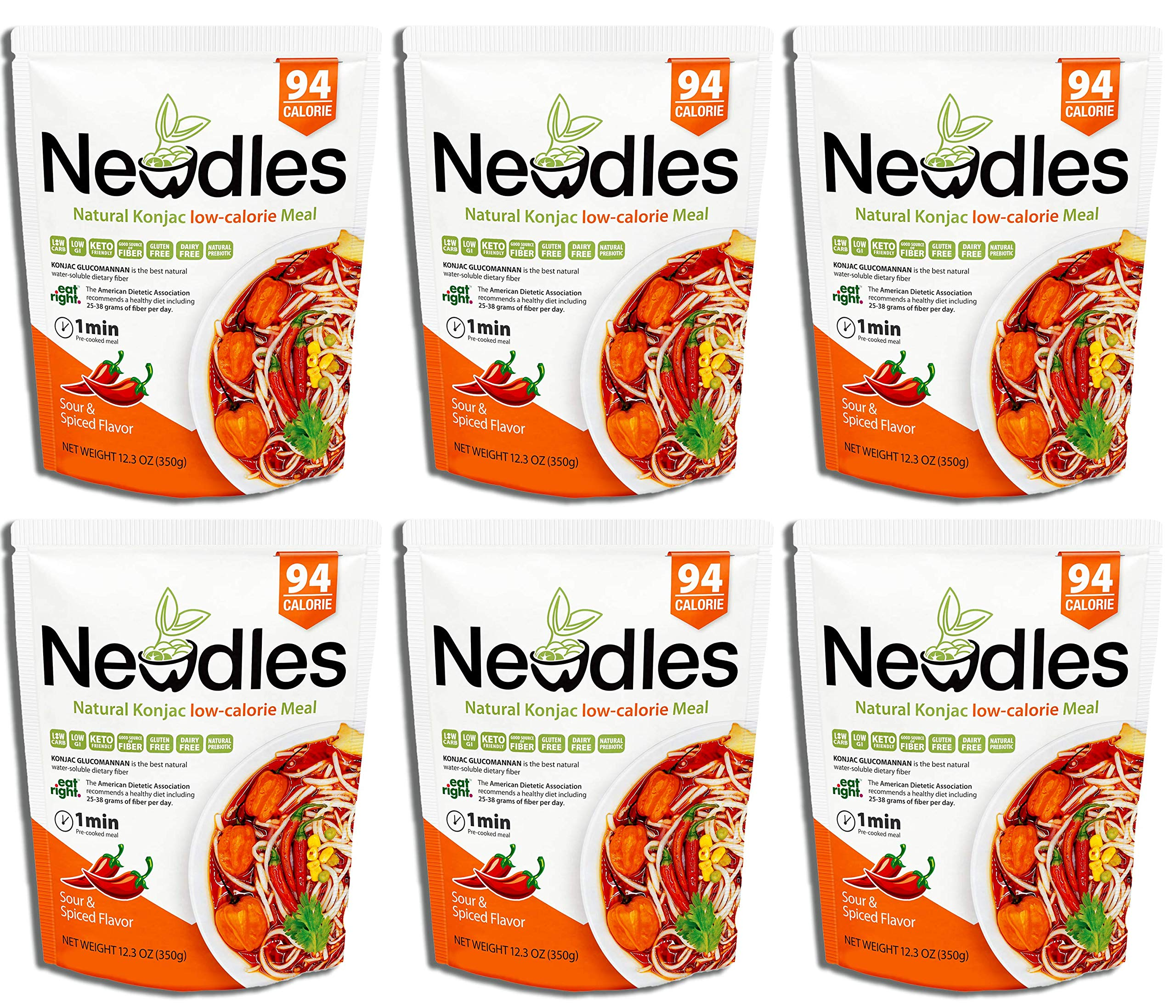 Newdles (New Generation)Konjac/Shirataki Low-Calorie Meal(Sour&Spiced Flavor)Easy to prepare, No boiling, Low Carb, Low Calories, High water-soluble dietary fiber, Gluten-Free, Good taste (Pack of 6) by Newdles