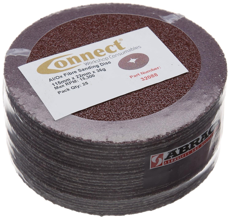 Connect 32088 P36 x 115 mm Abracs –  Discos de fibra (25 unidades) The Tool Connection Ltd.