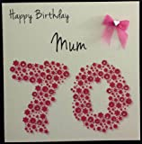 Happy Birthday Card - Mum 70th Bright Pink Flowerbed - Handmade Card