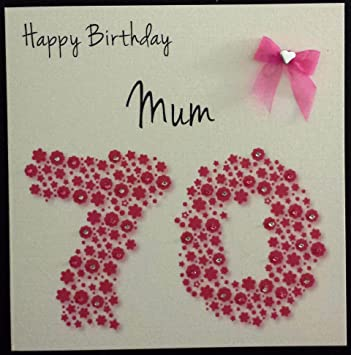 Happy Birthday Card Mum 70th Bright Pink Flowerbed Handmade Card