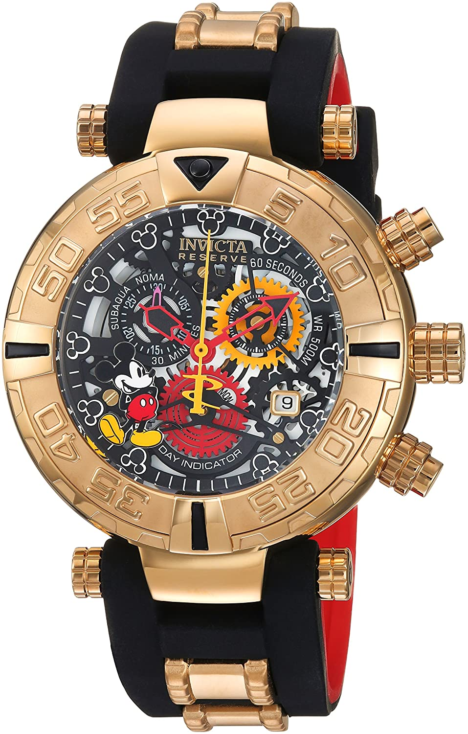 Amazon.com: Invicta Mens Disney Limited Edition Quartz Metal and Silicone Casual Watch, Color:Black (Model: 22734): Watches