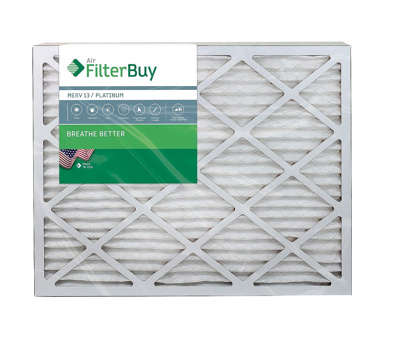 Pack of 2 Filters FilterBuy 24x25x1 MERV 13 Pleated AC Furnace Air Filter, 24x25x1 Platinum