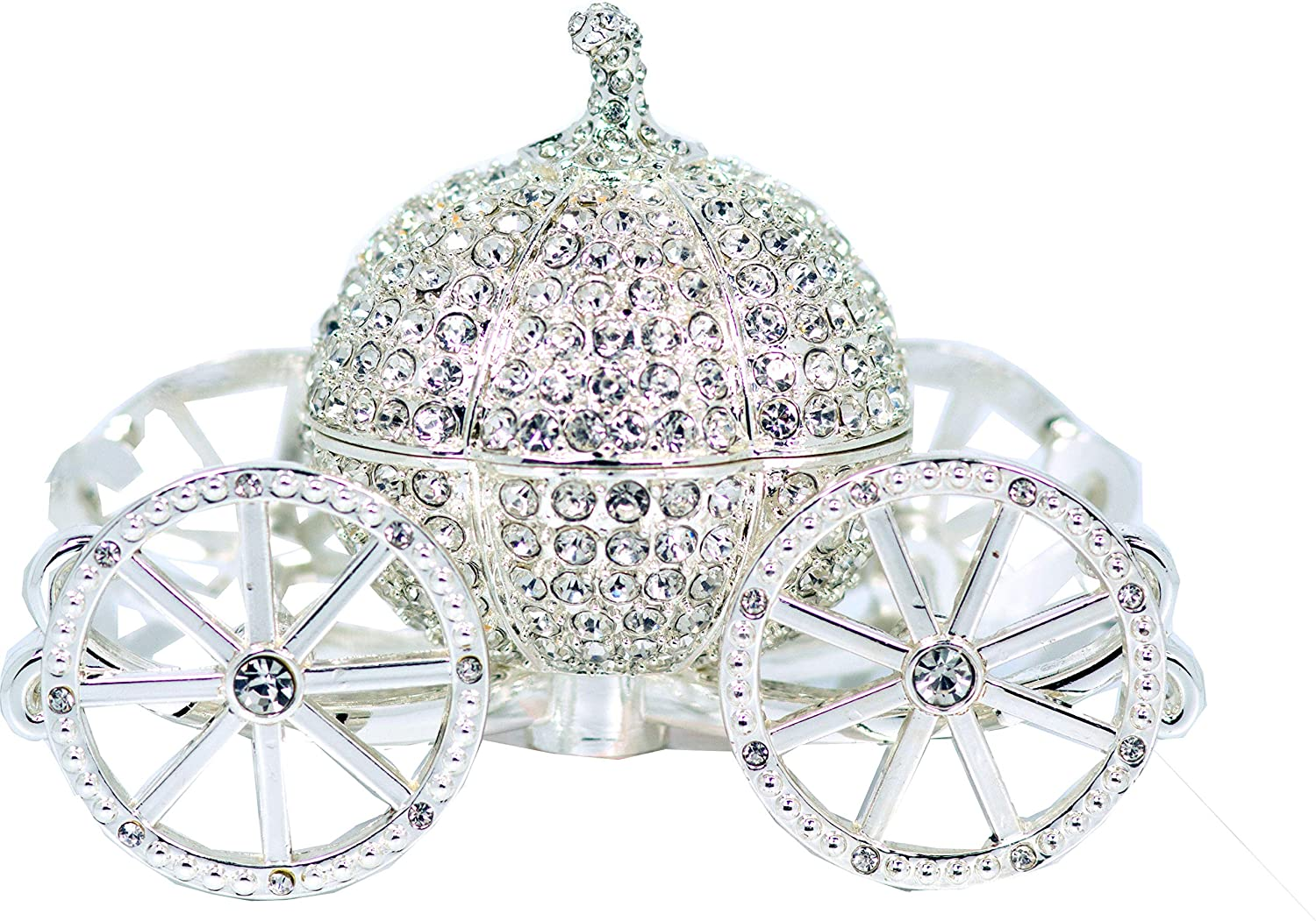 VI N VI Silver Rhinestone Princess Cinderella Crystal Pumpkin Carriage Trinket Box, Jewelry Box/Hand Painted Collectible Figurine and Decorative Jewelry Display, Holder, and Organizer