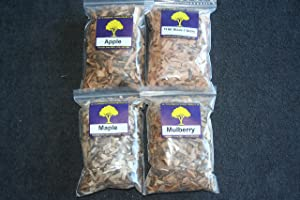 J.C.'s Smoking Wood Chips - Variety 4 Pk - 65 Cu Inch Quart Bags of Apple, Wild Black Cherry, Maple & Mulberry