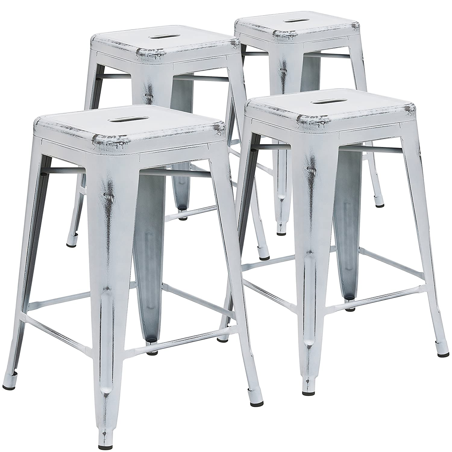 Amazon.com Flash Furniture 24u0027u0027 High Backless Distressed White Metal Indoor-Outdoor Counter Height Stool Kitchen u0026 Dining  sc 1 st  Amazon.com & Amazon.com: Flash Furniture 24u0027u0027 High Backless Distressed White ... islam-shia.org