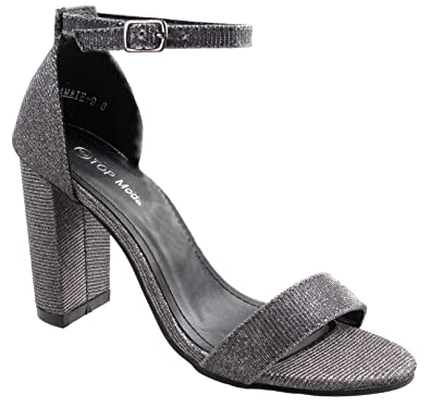 0138b3bf995 Asushoes Women s Top Moda Cammie-9 Pewter Thick Strap Open Toe Sandal  Chunkcy Block Heel