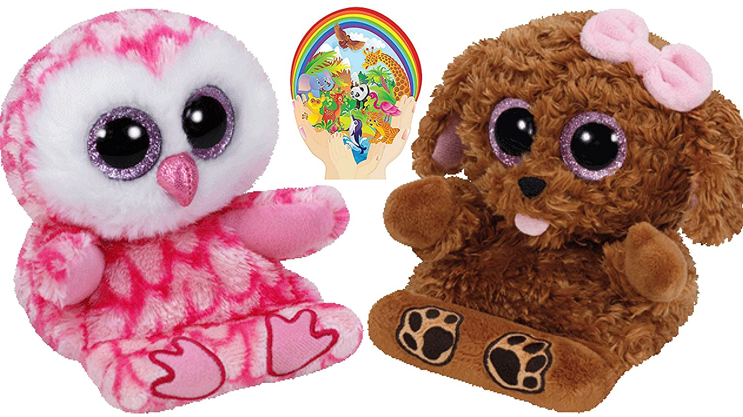 Ty Beanie Peek-a-Boos Dog ZELDA and Owl MILLY Set of 2 Smartphone holders  with Bonus Animals Sticker: Amazon.co.uk: Toys & Games