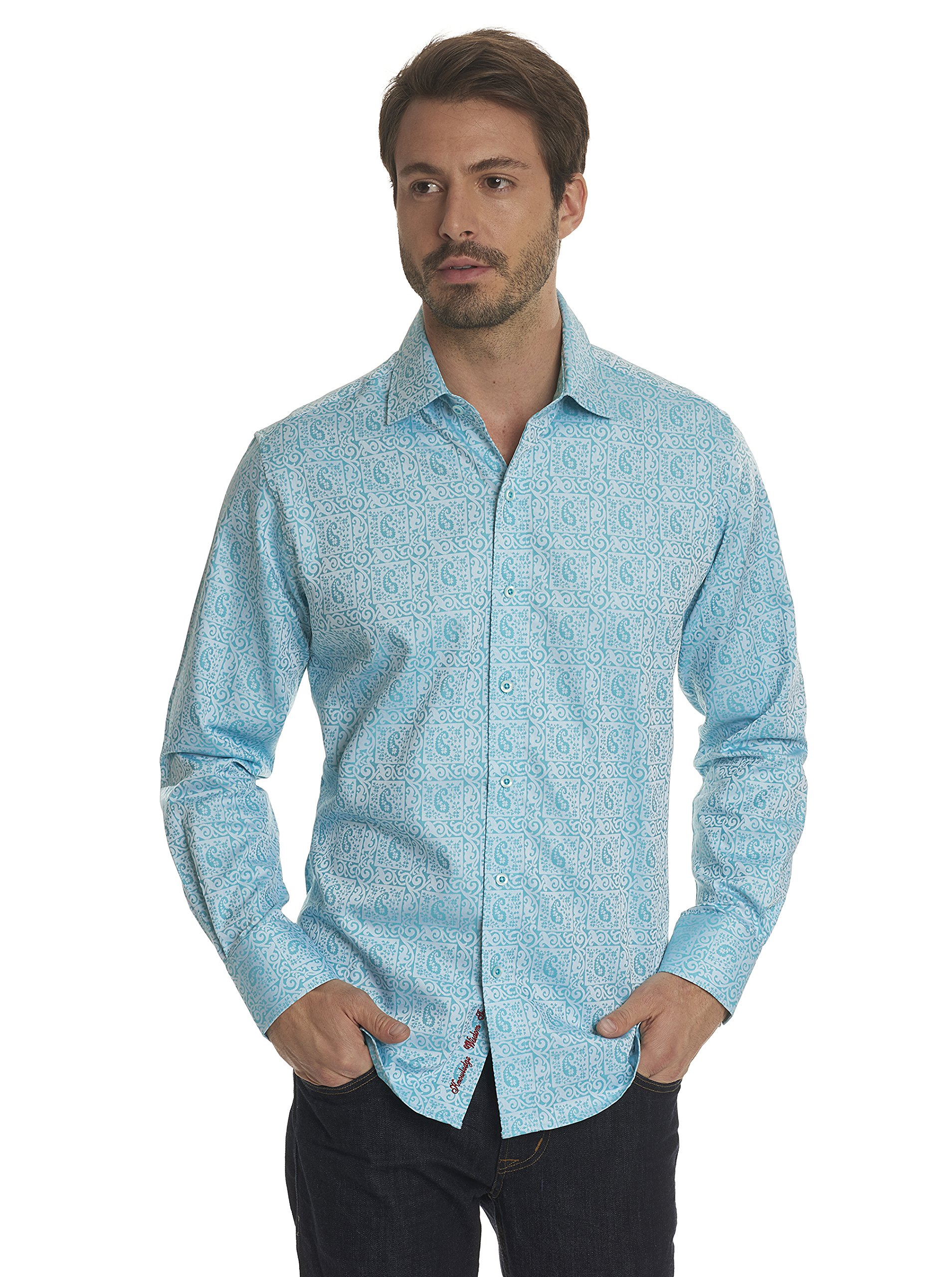 Robert Graham Windsor Long Sleeve Classic Fit Shirt Turquoise Large