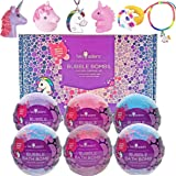 Unicorn Bubble Bath Bombs for Girls with Surprise Toys Inside by Two Sisters Spa. 6 Large 99% Natural Fizzies in Gift…