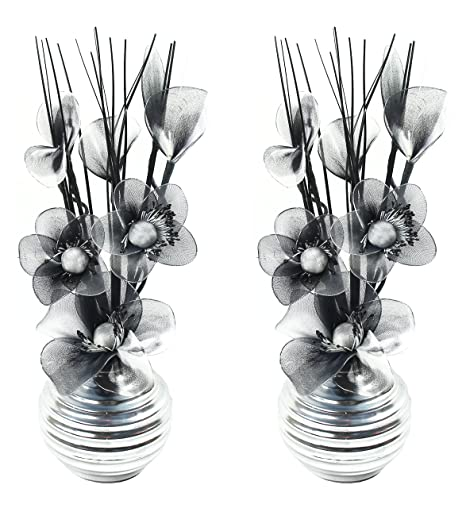 Flourish 797683 813 Matching Pair Of Silver Vases With Black And
