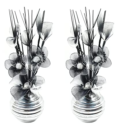 234 & Flourish 797683 813 Matching Pair of Silver Vases with Black and White Nylon Artificial Flowers in Vases Fake Flowers Ornaments Small Gift Home ...