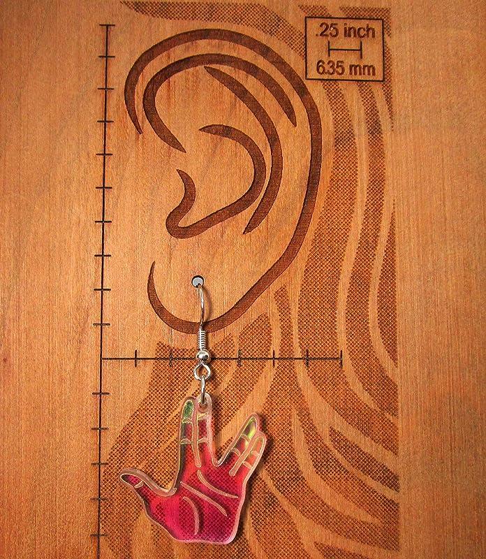 Spock Vulcan Salute Hand Gesture Iridescent Dangle Earrings Live Long and Prosper Star Trek Jewelry
