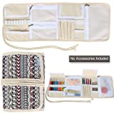 Teamoy Canvas Crochet Hooks Case for Knitting Needles, Crochet Hooks--with Crocket Project Accessories Compartments, Best Travel Case, Bohemian--(No Accessories Included)