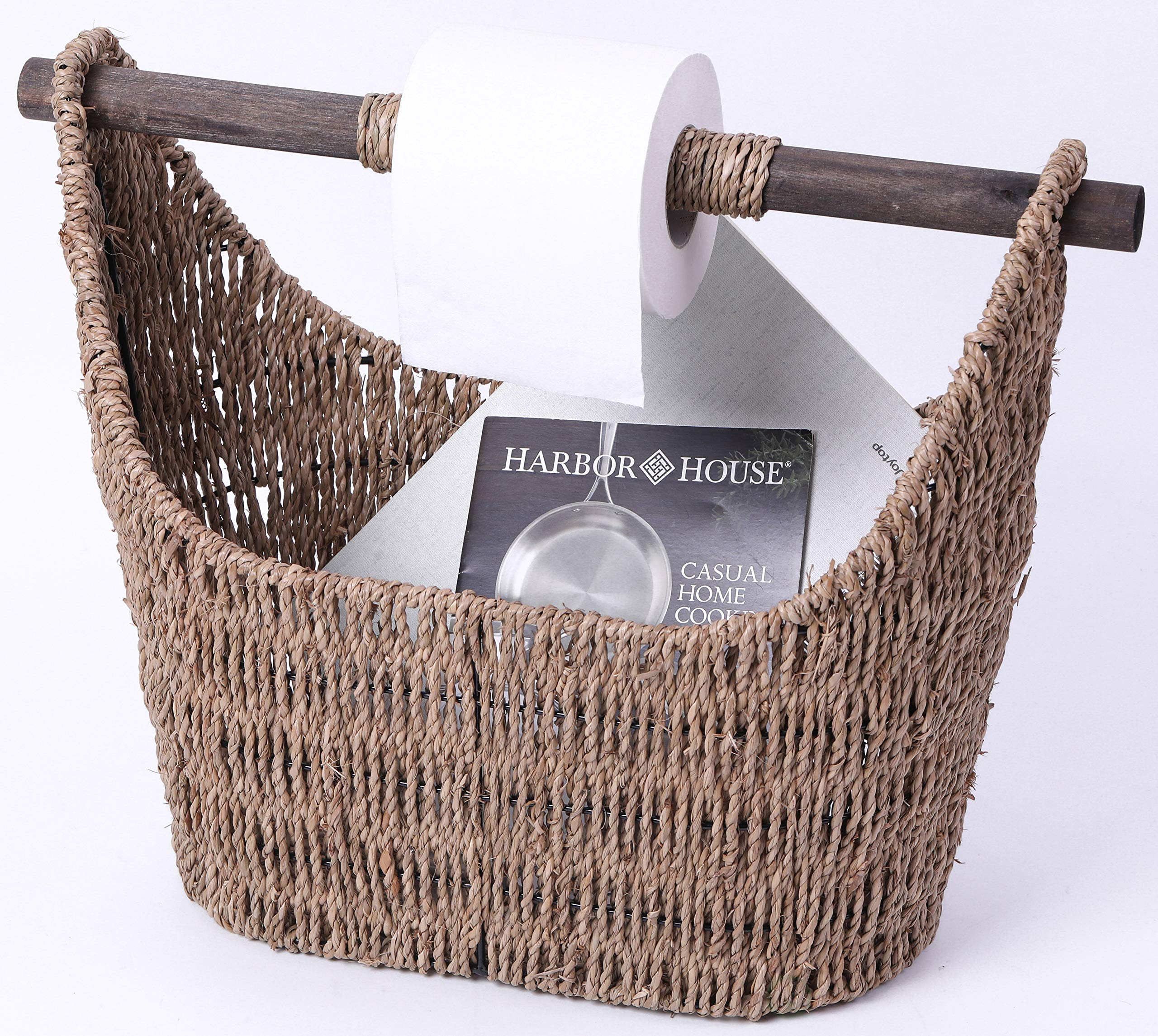 Vintiquewise QI003417 Free Standing Magazine and Toilet Paper Holder Basket with Wooden Rod by Vintiquewise