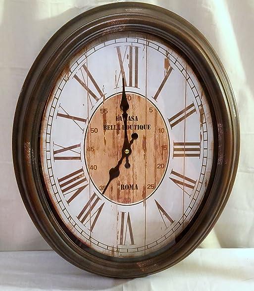 Amazoncom New 18 Vintage Style Oval Wall Clock La Casa Bella