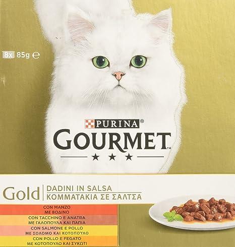 Gourmet Gold – Dados en Salsa para Gatos, 12 Paquetes de (8 x 85gr
